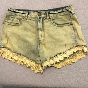 Free people lace trimmed shorts